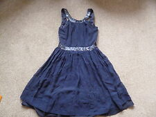 Kate MOSS Blu Navy Seta Star Trim Dress 8 Topshop