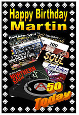 NORTHERN SOUL - HAPPY BIRTHDAY PERSONALISED CARD (ANY NAME & AGE)  NEW