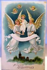1910 POSTCARD A MERRY CHRISTMAS, ANGELS CARRYING CHRIST CHILD
