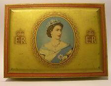 SUPER 1953 WD&HO WILLS GOLDEN FLAKE CIGARETTE TIN CORONATION QUEEN ELIZABETH II
