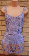 STYLE UNLIMITED LILAC CROCHET FLORAL BEADED BOHEMIAN BLOUSE TUNIC TOP CAMI L XL