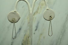 VERY COOL MODERN SQUARE SPIRAL 925 STERLING HOOK EARRINGS #B1993