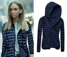 Womens Warm Winter Bomber Jackets Padded Hooded Coats Overcoat Parka Outwear
