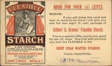 Buffalo NY Flexible Starch Gilbert Graves 1 Cent Postal Card 1890s - myn