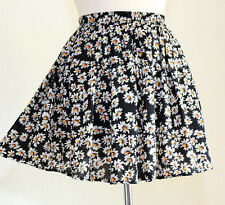 NEW Brandy Melville Black Daisy Ditsy Floral Soft Flared Skater Skirt One Size