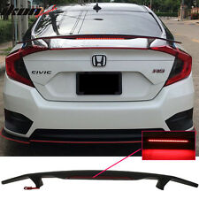 Universal Fit Matte Black Trunk Spoiler Wing & 3RD Brake LED Light - ABS