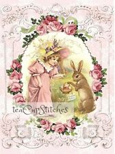 Vintage GIRL~BUNNY~Pink Roses~Fabric Block~Quilt~Pillow~Chic Shabby EASTER Bunny