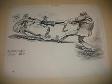 BILL CANFIELD ORIGINAL ART DRAWING CARTOON POLITICAL US SENATE TAG WAR ANTI TRUS