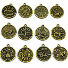 12pcs Mixed Vintage Bronze Constellation Signs Zodiac Charms Pendants Jewelry