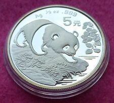 1994 CHINA SILVER PANDA  1/2 oz 5 YUAN  BU COIN