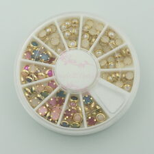 1 Set Circle Rimmed Colorful Faux Pearl Beads 3D Acrylic Nail Art Crafts Decor