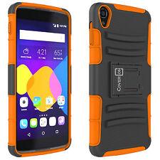 """For Alcatel One Touch Idol 3 5.5"""" Orange Hybrid Armor Case + Belt Holster Cover"""