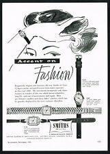 1950's Vintage 1956 Smiths De Luxe Ladies Watches Mid Century Watch Art Print AD
