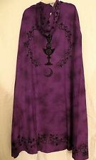 PURPLE & BLACK GODDESS CLOAK / CAPE / ROBE PAGAN WICCA RITUAL CELESTIAL - NEW
