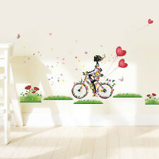 Removable Bicycle Flower Girl Vinyl Art Wall Sticker Mural Home Decal Decor New