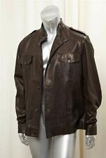 HOUSE OF BIJAN Brown Leather Button Front Casual Mens Coat Jacket sz. M / L