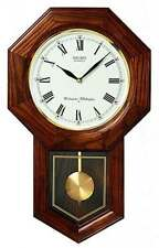 *BRAND NEW* Seiko Oak Case Schoolhouse Pendulum Clock Watch QXH102BC