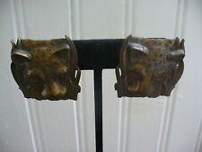 Vintage Pierced Post Textured Cast Brass Square Leopard Face Earrings