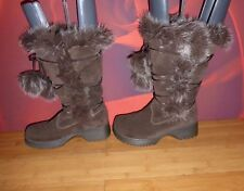 *11* SUPERB REPORT OLYMPIC BROWN SUEDE LEATHER FAUX FUR  BOOTS  EU 37 UK 4