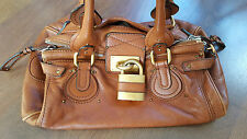 What Goes Around Comes Around Chloe in pelle marrone media Paddington LOCK BAG