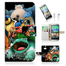 HTC ONE M8 Print Flip Wallet Case Cover! Pokemon Picachu P0253