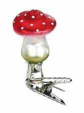 "Inge Glas ""Mini Flat Top"" Mushroom Glass Ornament - Made in Germany (#272)"