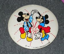 RARE VINTAGE DISNEY MICKEY & MINNIE DANCING PIN BACK BUTTON 3 1/2""