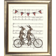 ART PRINT ORIGINAL VINTAGE MUSIC SHEET Page HARE BIKE TANDEM BICYCLE Shabby Chic