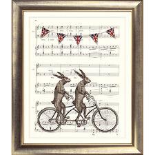 Impresión de arte original de colección de música página de liebre Moto Bicicleta tándem Shabby Chic