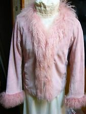 """""DUSTY ROSE SUEDE JACKET WITH MONGOLIAN FUR TRIM"""" - BRANDON THOMAS - SIZE M"