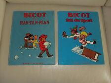 2 albums BD anciens 1974 Bicot et les ran-tan-plan et fait du sport collector