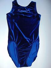 GK Elite Leotard Adult Medium Velour Midnight Blue Silver Studs Women Gymnatics