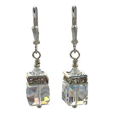 Swarovski Elements Clear Square Cube Crystal Rhinestone Dangle Earrings