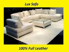 Large Modern 100% Genuine Real Leather Corner Sofa Settee Suite $-&*/Top Quality