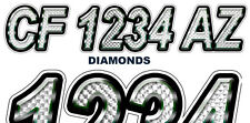 DIAMONDS Boat Registration Numbers PWC Decals Stickers Graphics CF, NV AZ..