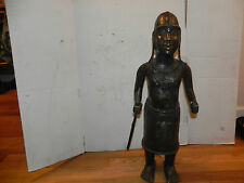 "Arts of Africa - Bronze Palace Guard Figure - Benin - 28"" Height x 10"" Wide"