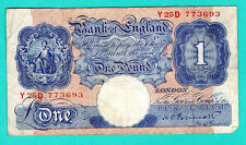 GREAT BRITAIN ENGLAND  ONE POUND 1940-48s P 367a FIVE 50