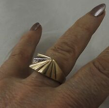"Fabulous Erté Signed Geometric Ring ""Book Piece"" 14K Diamonds Size 8-3/4 to 9"