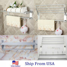 Double Aluminum Wall Mounted Bar Bathroom Towel Rail Storage Rack Shelf
