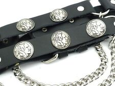 Indian Leather Biker Western Boot Straps W Chain Buckle Women or Men PAIR