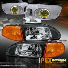 92-95 Honda Civic JDM Black Type-R Headlights+ Amber Corner & Yellow Fog Lights