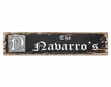 SPFN0388 The NAVARRO'S Family Name Street Chic Sign Home Decor Gift Ideas