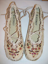 NEW LADIES AUDREY CANVAS SUMMER ANKLE LACE SHOES BEADED EMBROIDERED SIZE 8.5