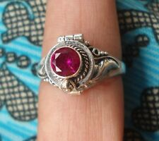 925 Sterling Silver-60LK-Bali Poison Pill/Locket Ring Round With Ruby Size 6