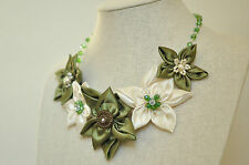 Statement Necklace Olive Green Off White Daisy Fabric Floral Upcycled Handmade
