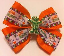 "Girls Hair Bow 4"" Wide Halloween Orange Mummy Flatback Alligator Clip"