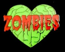 ZOMBIES LOVE (HEART) BRAINS Lapel Pin