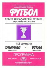 Dynamo Kiev v Dukla Prague, 1985/86 - Cup Winners Cup Semi-Final Programme.
