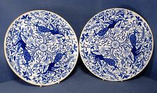"""Pair of Derby Blue Peacock 9.25"""" Plates C.1880"""
