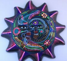 NEW MEXICAN CERAMIC HAND PAINTED SUN-MOON WALL DECOR HANGING  POTTERY FOLK BLACK